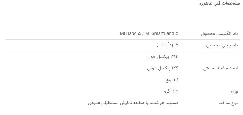 MiBandTable